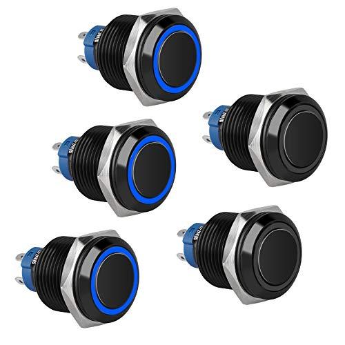 Interruptor de botón pulsador de enclavamiento de metal de 5 piezas de 16 mm con luz LED azul DC 12 V / 24 V, interruptor redondo de 4 pines ON/OFF para coche, camión, barco y RV