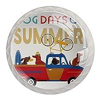 引き出しノブプルハンドル4個 クリスタルガラスのキャビネットの引き出しは食器棚のノブを引っ張る,夏の犬のトラック