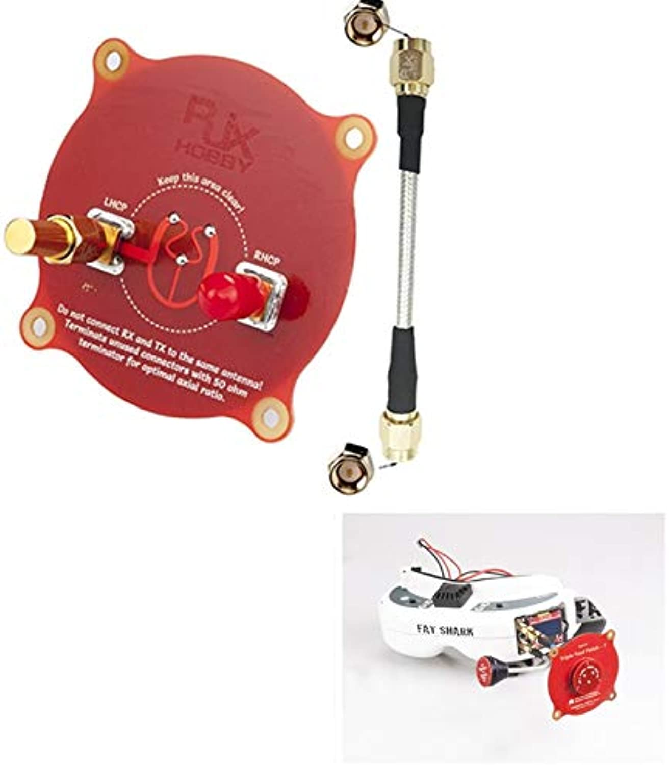 Laliva RJX 5.8 GHz 9.4dBi Triple Feed Patch Antenna with a 50ohm Terminator for Fatshark FPV Goggles Red