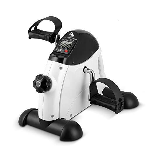 EVOLAND Pedales Estaticos, Mini Bicicleta Estática Plegable, Pedaleador Plegable LCD Pantalla, Máquinas de Brazos y Piernas Entrenamiento Resistencia Ajustable para Hacer Ejercicio en Casa