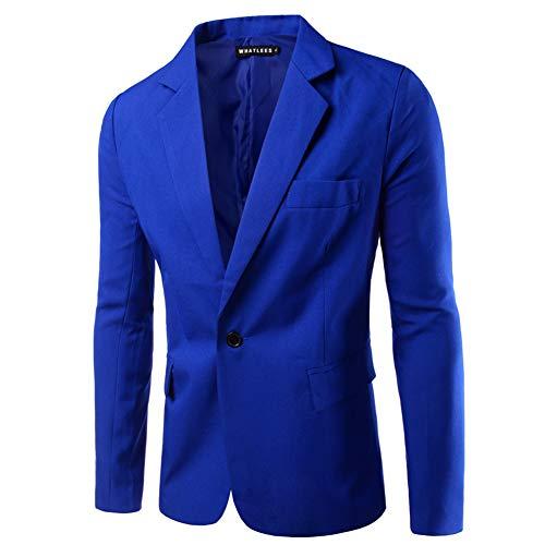 Metermall Fashion For Men Slim Single button Lapel Suit Simple Solid Color Large Size Casual Blazer Coat