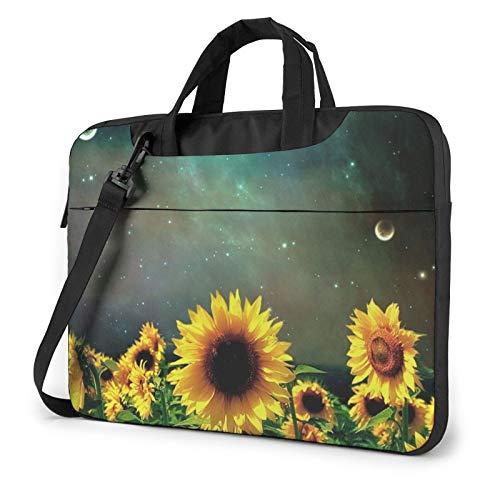 Laptop Shoulder Bag - Moonlight Sunflower Pattern Printed Shockproof Waterproof Laptop Shoulder Backpack Bag Briefcase 13 Inch
