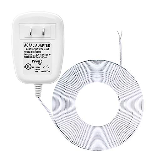 24 Volt Transformer, C-Wire Power Adapter for Nest Honeywell Emerson Sensi, Nest Hello Skybell Smart WiFi Thermostat and Doorbell Power, 25 ft Cable by Fyve Global