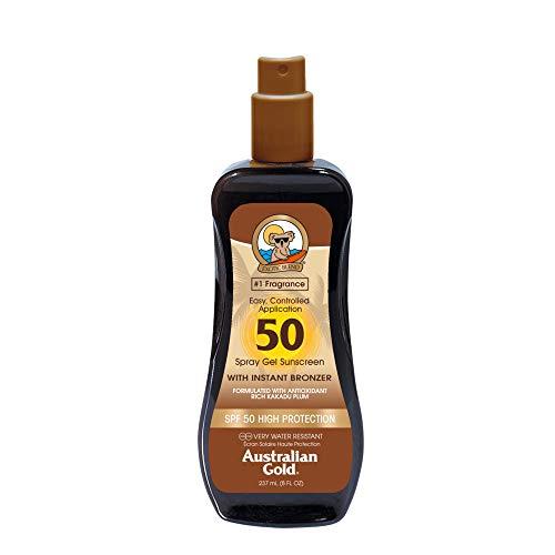 Australian Gold Sunscreen Spf50 Spray Gel With Instant Bronzer 237 Ml - 237 Mililitros