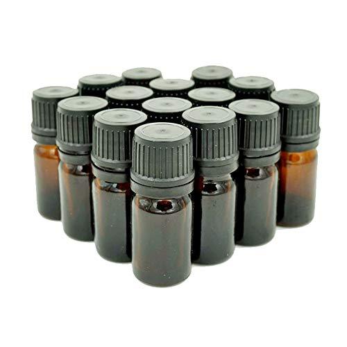 Sunreek bernsteinfarbene Glasfläschchen, Euro-Tropfer, schwarzer Verschluss, 15 Stück, je 5 ml