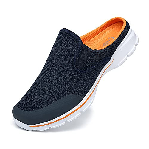 CELANDA Zuecos de Transpirable para Mujer Hombre Comodas Zapatillas de Casa Mules Antideslizante Ligero Planos Zapatos Pantuflas Casual Exterior y Interior Azul Amarillo 40EU