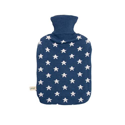UMOI Premium Wärmflasche 2 Liter mit hochwertigem Strickbezug Sternen Muster, TÜV Rheinland getestet, neues Modell (Blau)