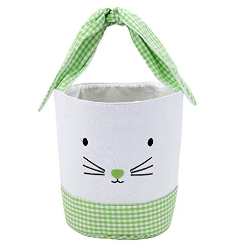 Easter Bunny Basket Easter Bucket for Boys Girls Easter Gift Bags Personalized Eggs Hunt Bag Kids Bunny Tote Bag Candy and Gifts Carry Bucket Easter Decorations (Bowknot Style Green)