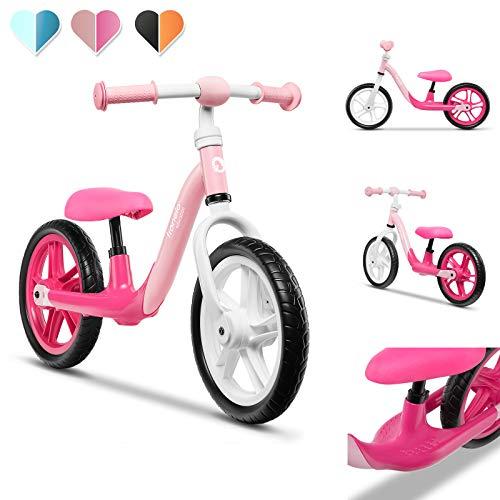 Lionelo Alex Laufrad Kinder Fahrrad bis 30 kg Sattel und Lenker einstellbar 12 Zoll Eva Schaumräder robuste Konstruktion Lenkeinschlagsbegrenzung EN 71 (Rosa)