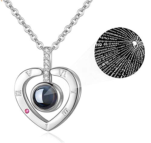 iAmotus Collar Mujer Memoria de Amor Collar de 100 Idiomas I Love You Pendant Necklace para Mujeres Regalo de San Valentín (Plata*)