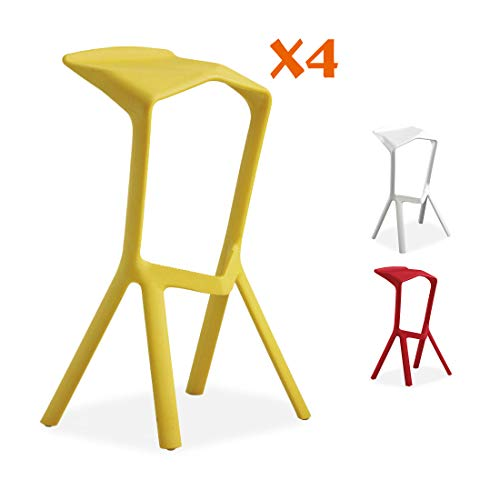 all about chair 4er Set Miura Style Barhocker, massiver Kunststoff und stapelbare Barhocker, Frühstückstresenhocker für Innen und Außen gelb