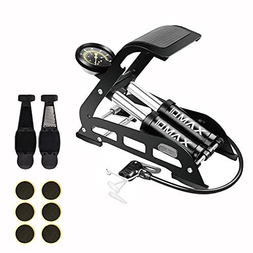 Double Barrel Foot Pump, IDMAX Double Cylinder Bike Pump Bike Floor Pump Portable Bicycle Pump Bicycle Tire Pump Bike Floor Air Inflator Pump with Pressure Gauge & Smart Valve Head