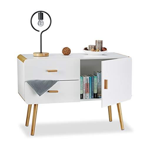 Relaxdays 10020981 Credenza Nordica Buffet Design con Piedi Armadietto a 2 Cassetti HxLxP: 70 x 100 x 47 cm, Bianco