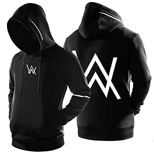 Walker DJ Music Star Sweatshirt Kapuzenpullover Pullover Hoodie Hoher Kapuzenansatz Känguru-Tasche Gerippte Ärmel Sweatjacke Casual Streetwear für Männer & Frauen,XS-150-155cm