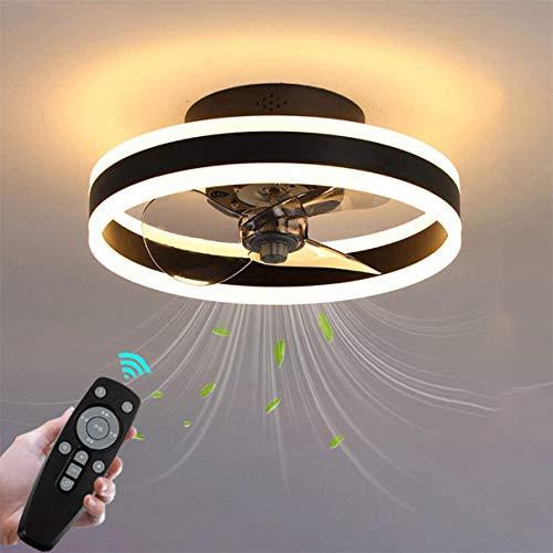 ZBYL Ventiladores de Techo con Luz y Control Remoto, Lámpara de Techo Ultra Silencioso, Plafon de Techo Regulable para Dormitorio, Iluminación Decorativa, 6 Reversible Velocidad del Viento,Negro