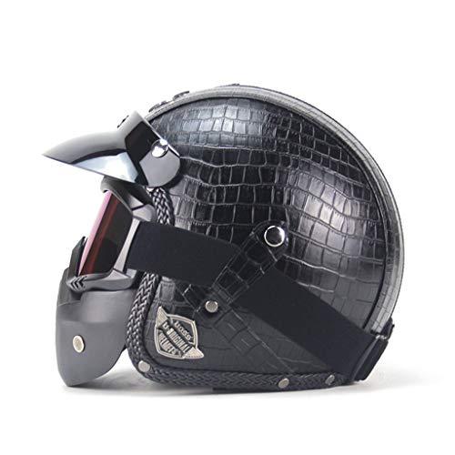 Casque de moto en plein air, casque de moto électrique de sécurité de masque en cuir de visage ouvert adulte unisexe (Couleur : NOIR-XL)