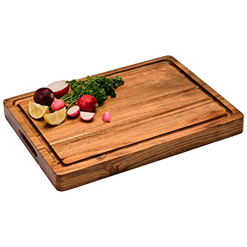 Large Reversible Multipurpose Thick Acacia Wood Cutting Board: 16x12x1.5 Juice Groove & Cracker/Bread Holder (Gift Box Included) by Sonder Los Angeles
