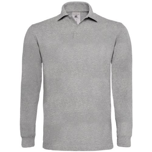 B&C Heavymill Long Sleeve Polo, Gris (Heather Grey 000), X-Large Homme
