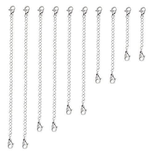 Naler 10 X Kettenverlängerung Halskette Extender Kettchen in Silbrig für Kette Armband, 2-6 Zoll