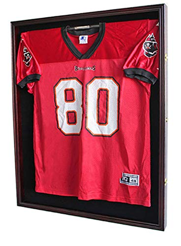 XL Large Football/Hockey Uniform Jersey Display Case Frame, UV Protection Ultra Clear, Locks (Mahogany)