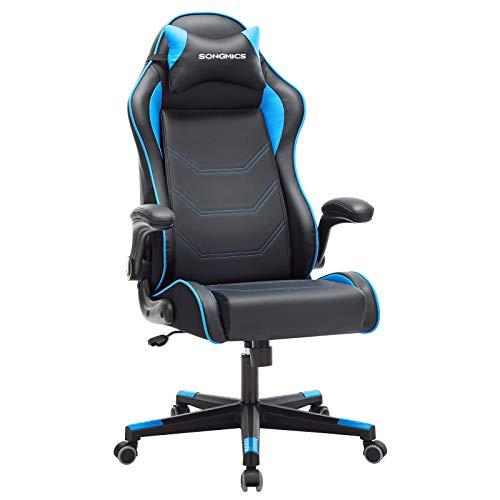 SONGMICS Gamingstuhl, Racing Chair, ergonomischer Schreibtischstuhl, Bürostuhl mit Kopfstütze und verstellbaren Armlehnen, höhenverstellbar, Stahlgestell, Kunstleder, schwarz-blau RCG014B01