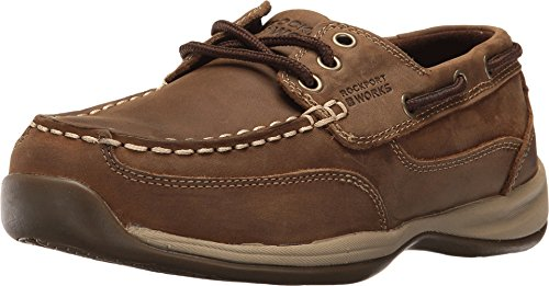 [Warson] Rockport Womens Brown Leather Casual Boat Shoes Sailing Club Steel Toe