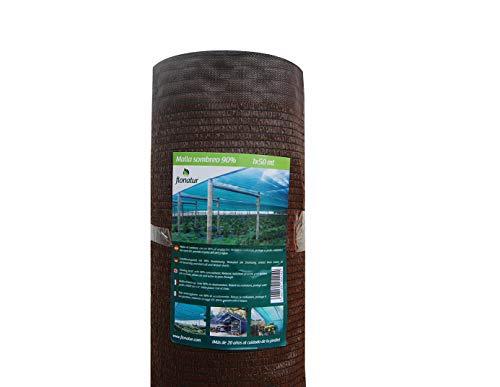 flonatur Mallas ocultación jardín Marrón, 1x50m, Malla sombreo al 90%, Malla jardín Verde y marrón, Varias Medidas
