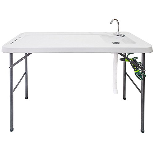 Goplus Folding Fish Table Fillet Hunting Cleaning Cutting Camping Sink Table Faucet with Sprayer and...