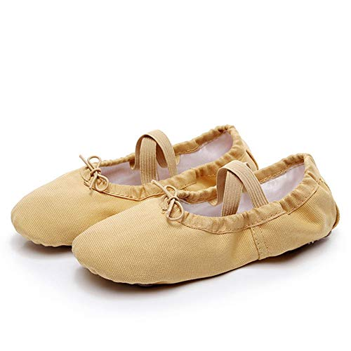 Ballet Shoes for Girls students Canvas Children Soft Sole Girls School Opening season gift Ballet Shoes Kids Ballet Dance Shoes for Girls/Toddler/Little Kid/Big Kid/women ( Color : Camel , Size : 33 )