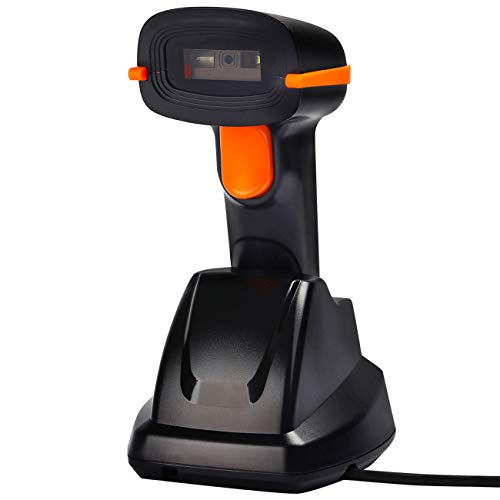 Tera Scanner de codes à barres sans fil 2D&1D avec Récepteur de Charge 3 en 1 Douchette Laser Lecteur 500 scans par Seconde résolution 4 mil Lecture précise et rapide