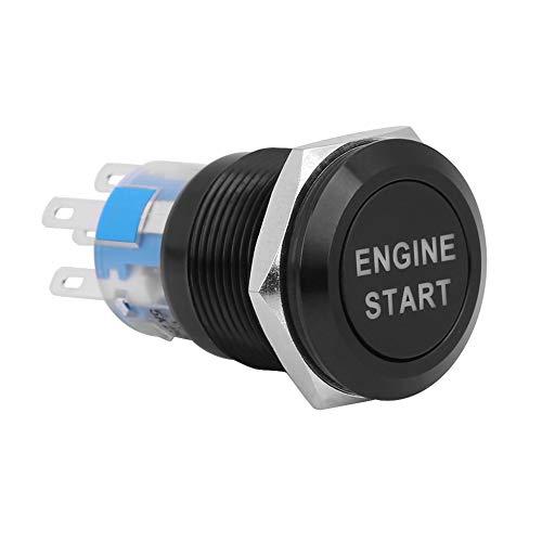 Interruptor de arranque del motor-12V impermeable del coche del comienzo del motor pulsador de arranque del interruptor de encendido (Color : Black Zinc-Aluminium Alloy)
