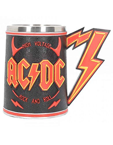 AC/DC Tankard High Voltage Lightning Band Logo ufficiale dipinto a mano in scatola taglia unica