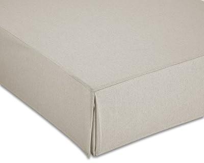 Composición de la tela: 70% algodón, 30% poliéster Para camas con 190y 200cm de longitud Cubre canapé con volante de fuelle inglés Alto del volante de 30 cm Lavado: Lavar a máquina máximo (30ºC)