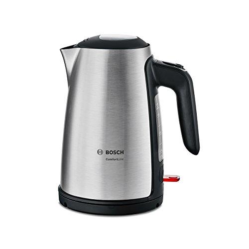 Bosch TWK6A813 ComfortLine Hervidor de agua, 1,7 litros de capacidad, 2400 W, acero inoxidable, color negro y acero