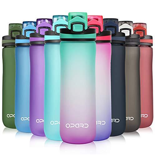 Opard Sports Water Bottle, 600ml BPA Free Non-Toxic Tritan Plastic Drinking Bottle with Leak Proof Flip...