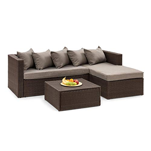 blumfeldt Theia Lounge Set Gartenliege - Eckgarnitur, 2-teilige Sitzgruppe: Eckcouch & Hocker, 10 cm Sitzpolster, 5 Kissen, inkl. Regenschutzhülle, inkl. Bezüge in Braun, Rattan: braun