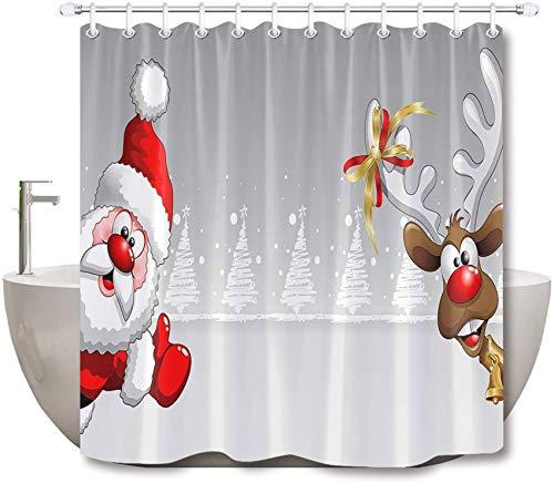 LB Weihnachts-Duschvorhang-Set Weihnachtsmann Elch Badezimmer Vorhang Dekoration mit Haken 182,9 x 182,9 cm Polyester Stoff Badewannenvorhang Langlebig Wasserdicht