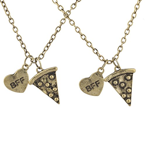 LUX ACCESSORIES Gold Pizza Emoji BFF Best Friends Forever BFF Necklace for 2