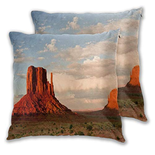 WINCAN Square Cushion Cover 55x55cm 2 pieces Set,Red Massive Sandstone Pillars Soar Above Iconic Landscape Nature Canyon Valley Desert Western Utah,decorative Throw Pillow Case for Couch Sofa Chair