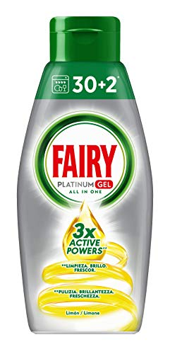 Fairy Platinum Gel Detersivo per Lavastoviglie, Limone, 30+2 Lavaggi, 100 % Dissoluzione e Una Pulizia Ottimale,4 unità