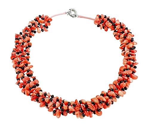 TreasureBay Damen-Halskette, grob, mehrsträngig, rosafarbene Koralle, Schmuck für Frauen