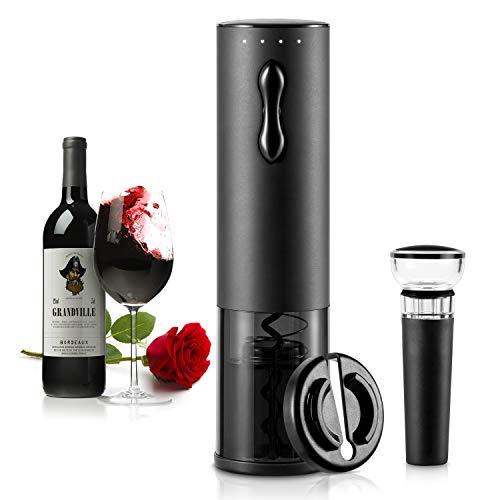TOQIBO Cavatappi Elettrico Professionale ricaricabile Apribottiglie ,Con Base,Taglia-capsule Vino Versatore e Tappo Vino di Vuoto