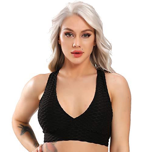 STARBILD Leggings Mallas Deporte de una Pieza para Mujer Sexy Pantalones Texturizados Elásticos con Espalda Abierta para Yoga Fitness #Sujetador-Negro S