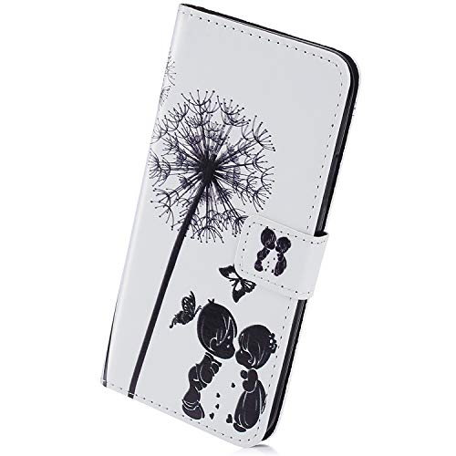 Herbests Compatible per Huawei P20 Pro Custodia Protettiva Portafoglio Pelle Cover Chiusura Magnetica Flip Case Colorate Wallet Case Custodia con Supporto di Stand,Dente di Leone