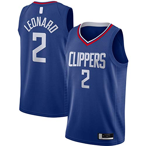 YUEJI Royal -2020/21 Swingman Jersey Leonard Custom LA Clippers Sudadera de baloncesto #2 LA Icon EditionKawhi Icon Edition-S