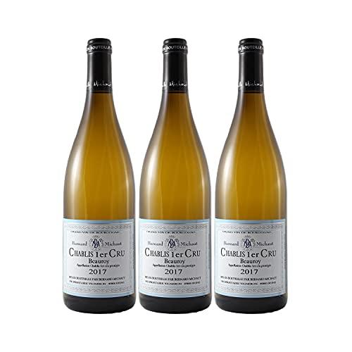 Chablis 1er Cru Beauroy Blanc 2017 - Domaine Bernard Michaut - Vin AOC Blanc de Bourgogne - Lot de 3x75cl - Cépage Chardonnay