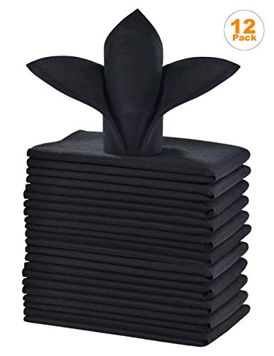 cieltown Polyester Cloth Napkins 1-Dozen (20 x 20-Inch, black)