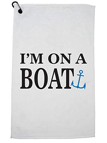 Hollywood Thread Ik ben op een boot zeeman Anker Grafische Marine Golf Handdoek met Karabijnhaak Clip