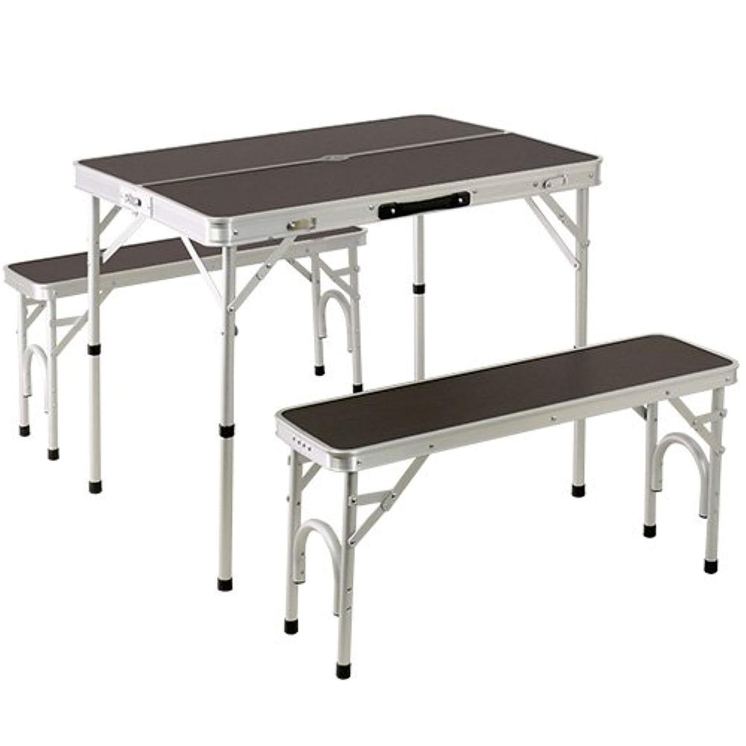 クックやけどファンシーアルミ テーブル チェア セット ALPT-90   2WAY ピクニック アウトドア ベンチ レジャー キャンプ ベンチセット ロースタイル 高さ 調整 可