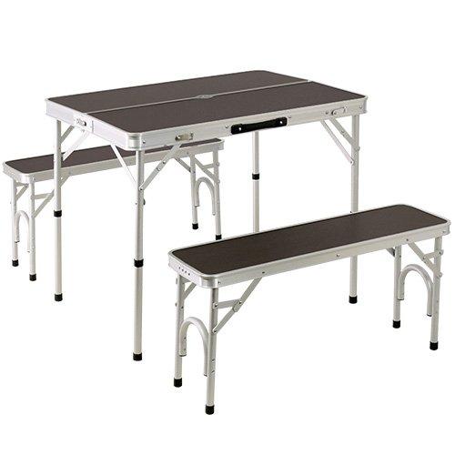 クイックキャンプ 折りたたみ テーブルセット チェア付き アウトドア アルミ ピクニック モダンブラウン ALPT-90